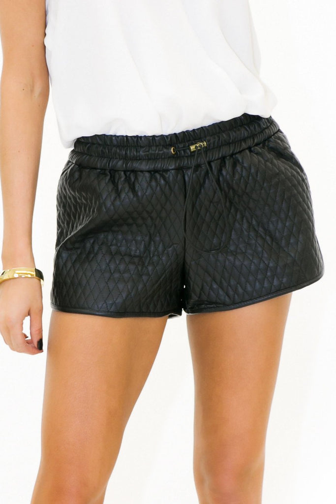 BEN VEGAN LEATHER QUILTED SHORTS - Black