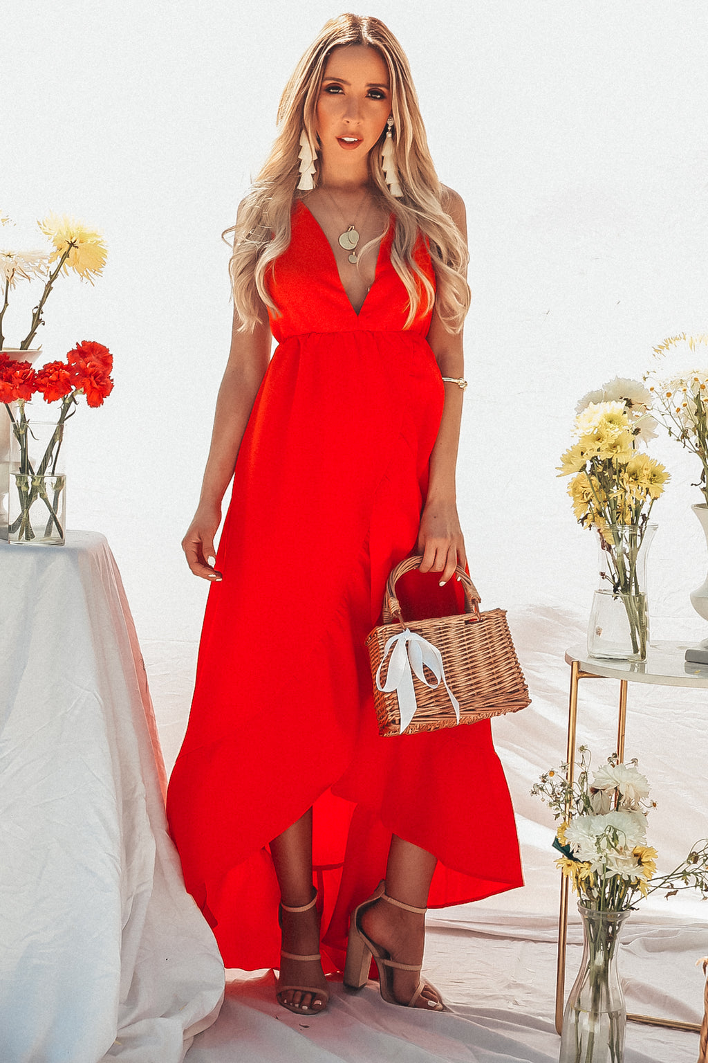Wrap Maxi Dress with Open Back - Red