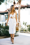 Say Yes Cutout Polka Dot Midi - Haute & Rebellious