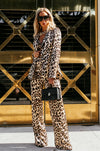 Leopard Print Satin Two-Piece Set