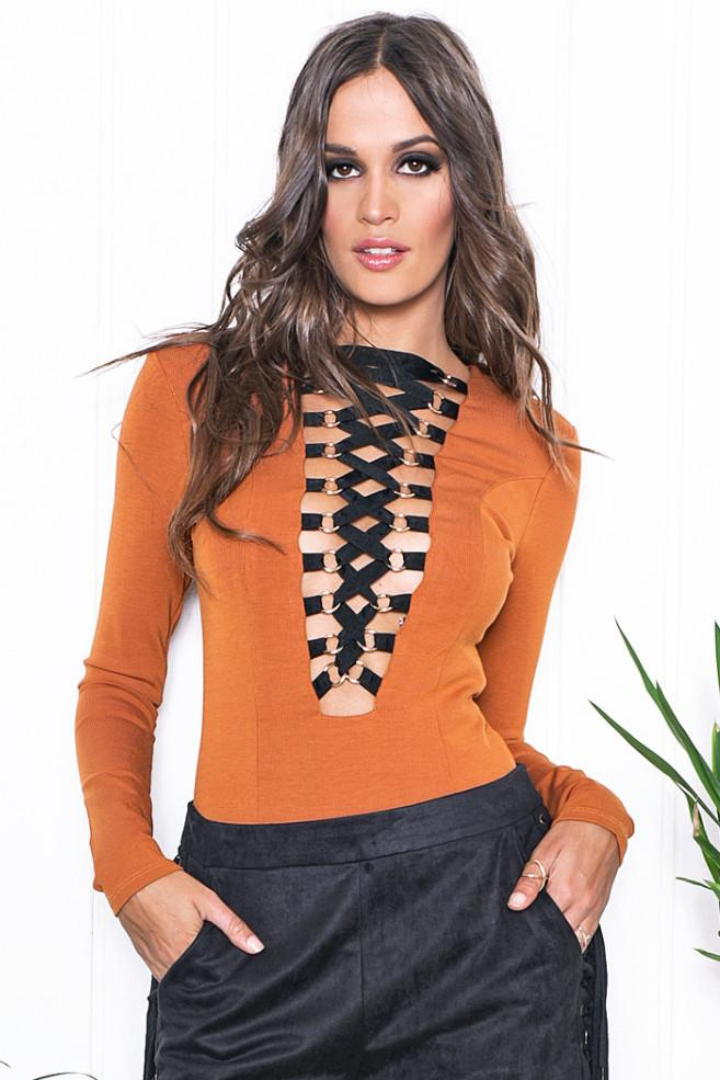 Aniya Lace-Up Bodysuit - Brown