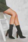 Walk The Talk Sock Booties - Olive - Haute & Rebellious