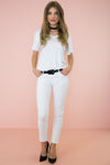 Vivi Skinny Denim Pant - White - Haute & Rebellious