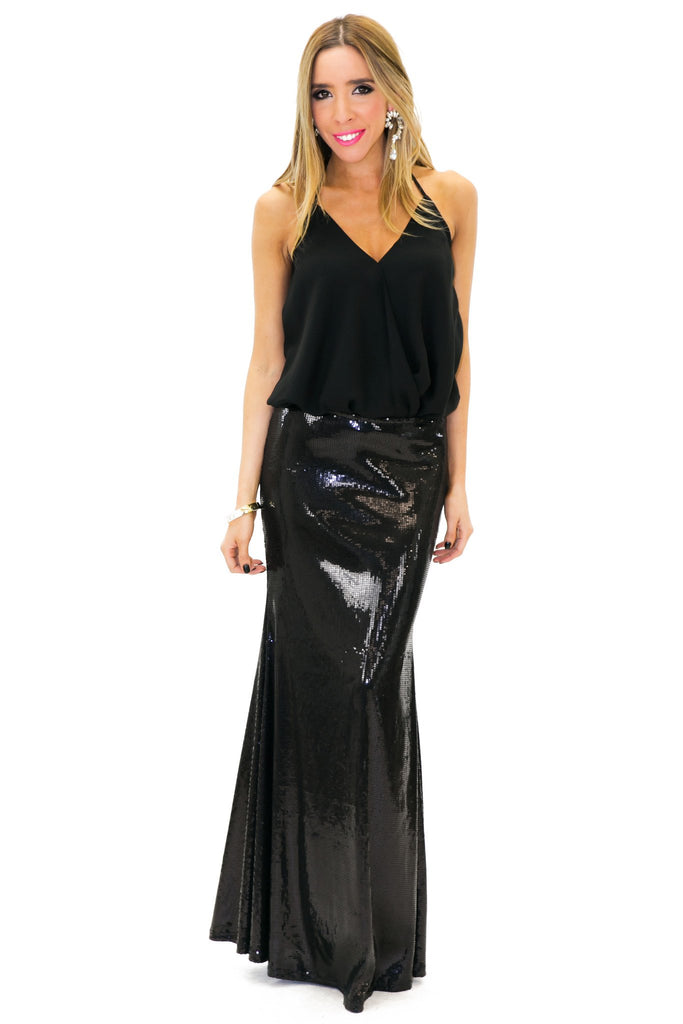Harper Sequin Maxi Skirt - Black