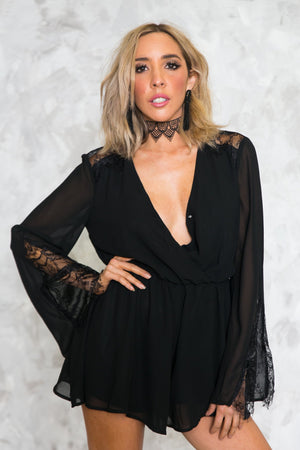 Deep-V Sheer Sleeve Romper /// ONLY 1-M LEFT/// - Haute & Rebellious