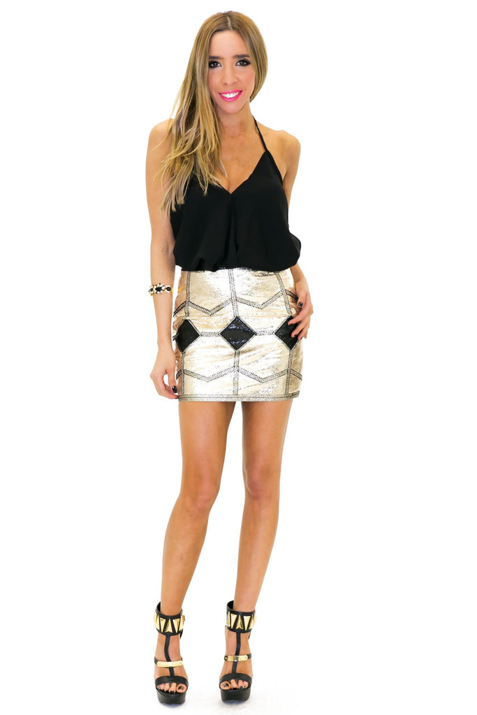 HARPER METALLIC MINI SKIRT