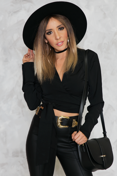 You Got Me Tie-Wrap Blouse - Black
