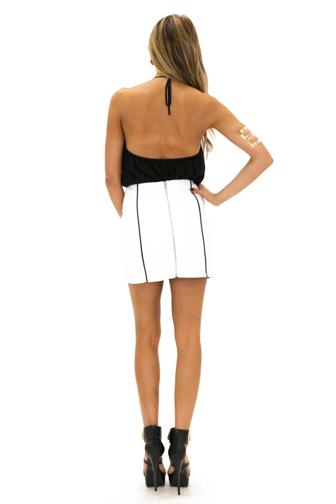 VIXON OUTLINE MINI SKIRT - White
