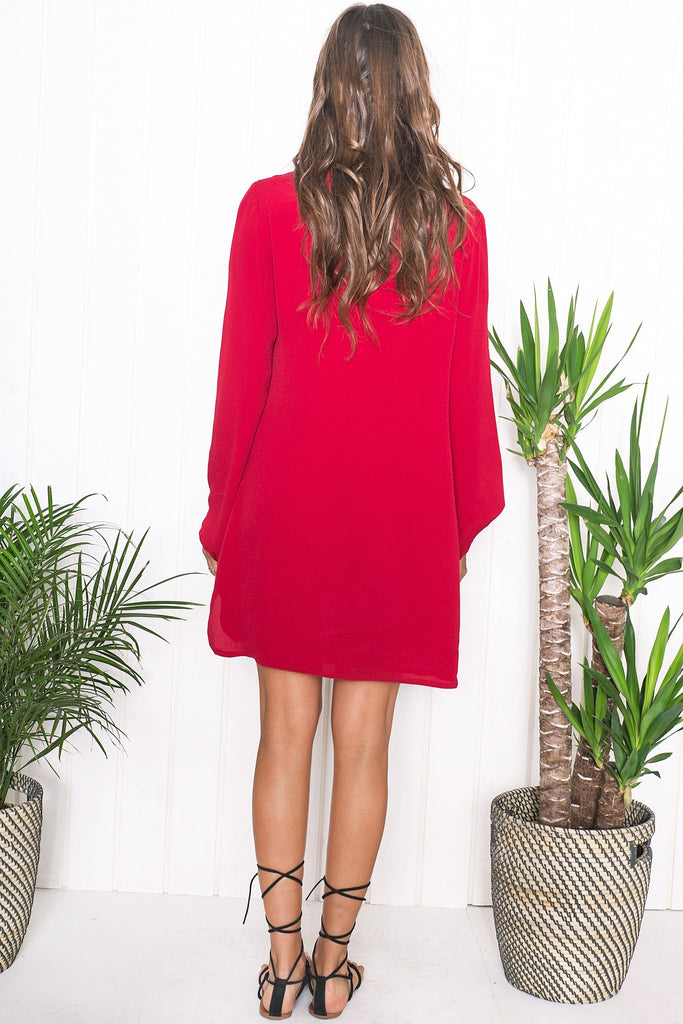 Amber Lace Up Shift Dress - Red