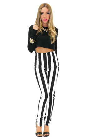 HIGH-WAISTED STRIPE SKINNY PANT (Final Sale) - Haute & Rebellious