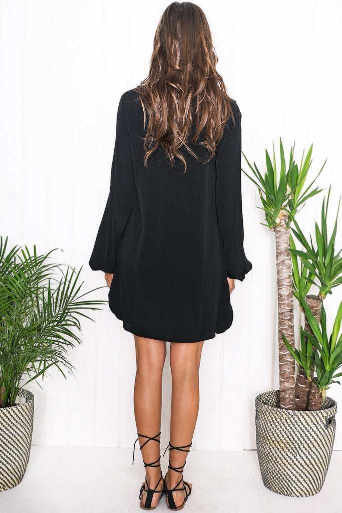 Amber Lace Up Shift Dress - Black