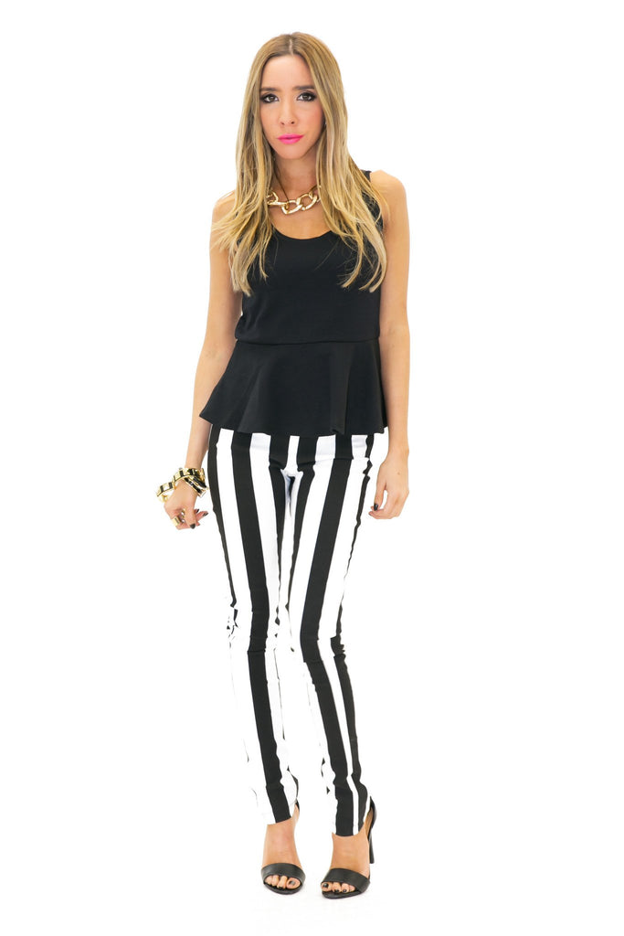 HIGH-WAISTED STRIPE SKINNY PANT (Final Sale)