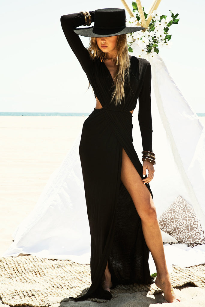 Lora High Slit Maxi Dress - Black