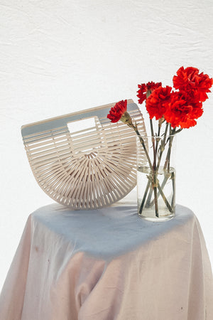Bamboo Basket  Bag - White