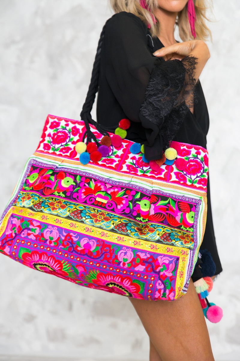 Bright Color Tribal Beach Tote - Haute & Rebellious