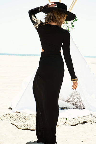 Lora High Slit Maxi Dress - Black - Haute & Rebellious