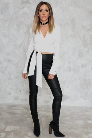 Wrap Top with Tie - White
