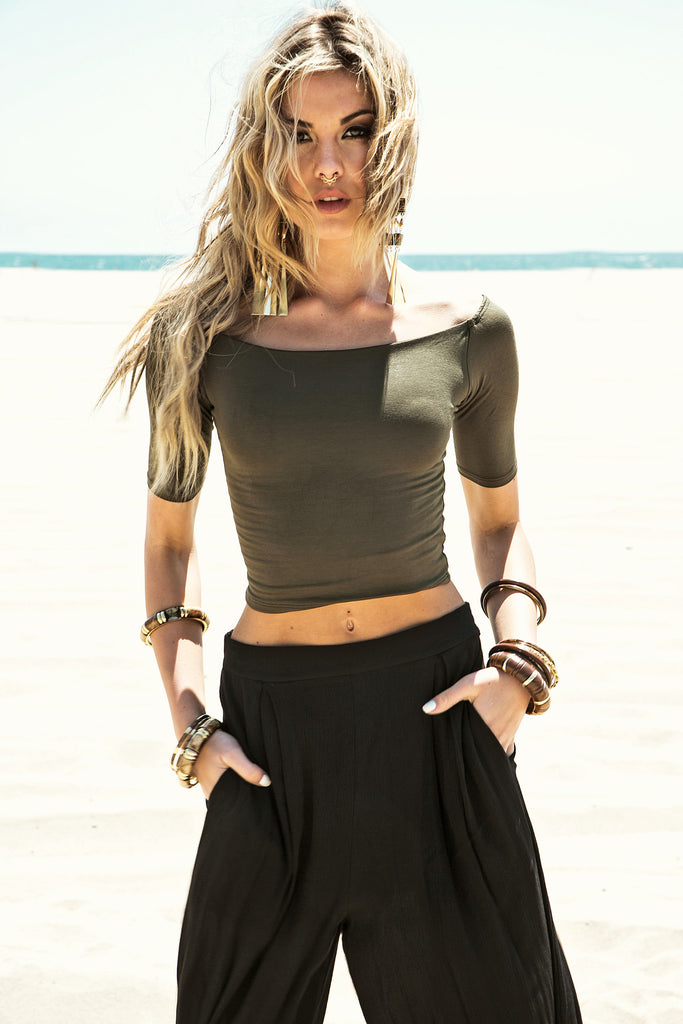 Yvonne Crop Top - Olive
