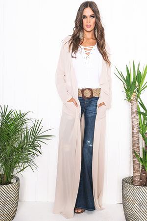 Emy Draped Sheer Cover-Up - Taupe - Haute & Rebellious
