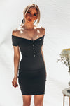Off-Shoulder Ribbed Mini Dress with Buttons -  Black