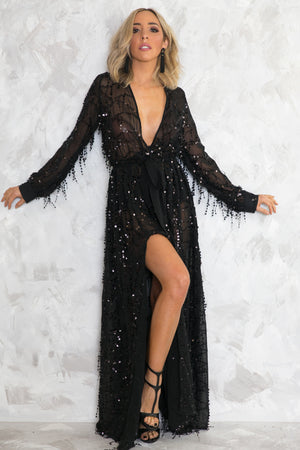 Sequin Slit Wrap Maxi Dress - Black - Haute & Rebellious