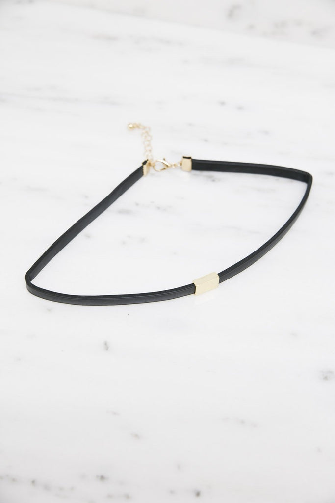 Gold Accent Leather Choker