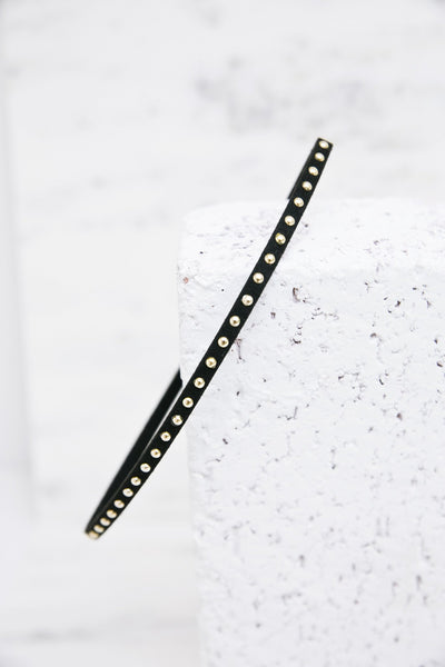 Leather Metal Stud Choker