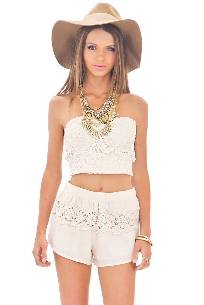 NINA LACE BRALLETE TOP - Beige - Haute & Rebellious