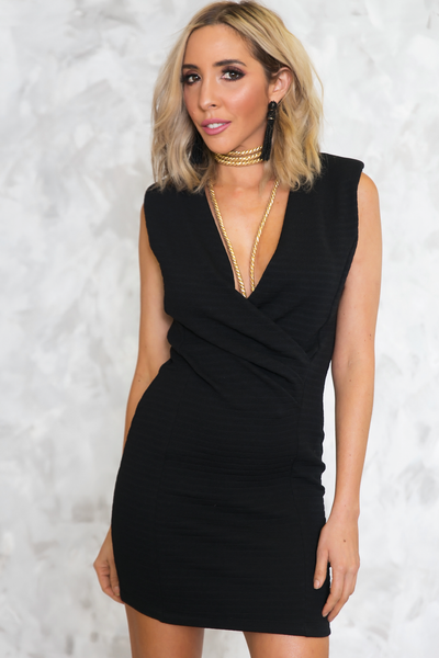 Sleeveless Deep-V Wrap Dress - Black