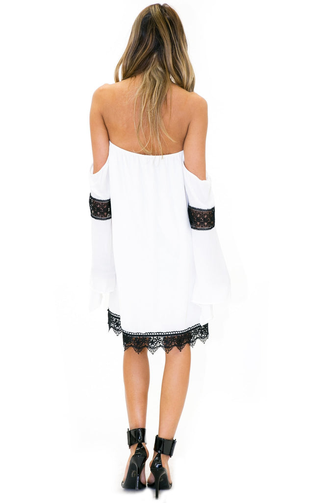 HANA LACE CONTRAST CHIFFON DRESS - Haute & Rebellious