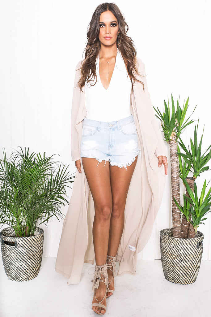 Emy Draped Sheer Cover-Up - Taupe