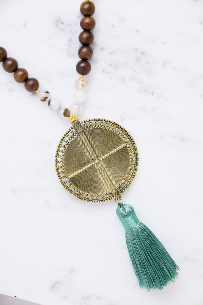 Tassel and Wood Medallion Necklace