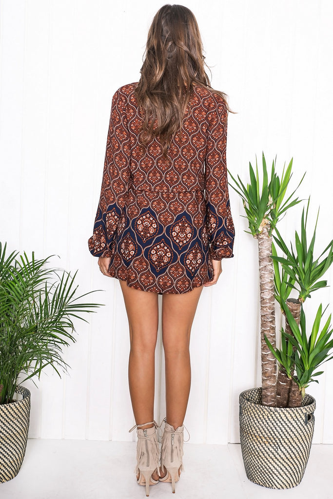 Kenya Flower Print Dress - Orange