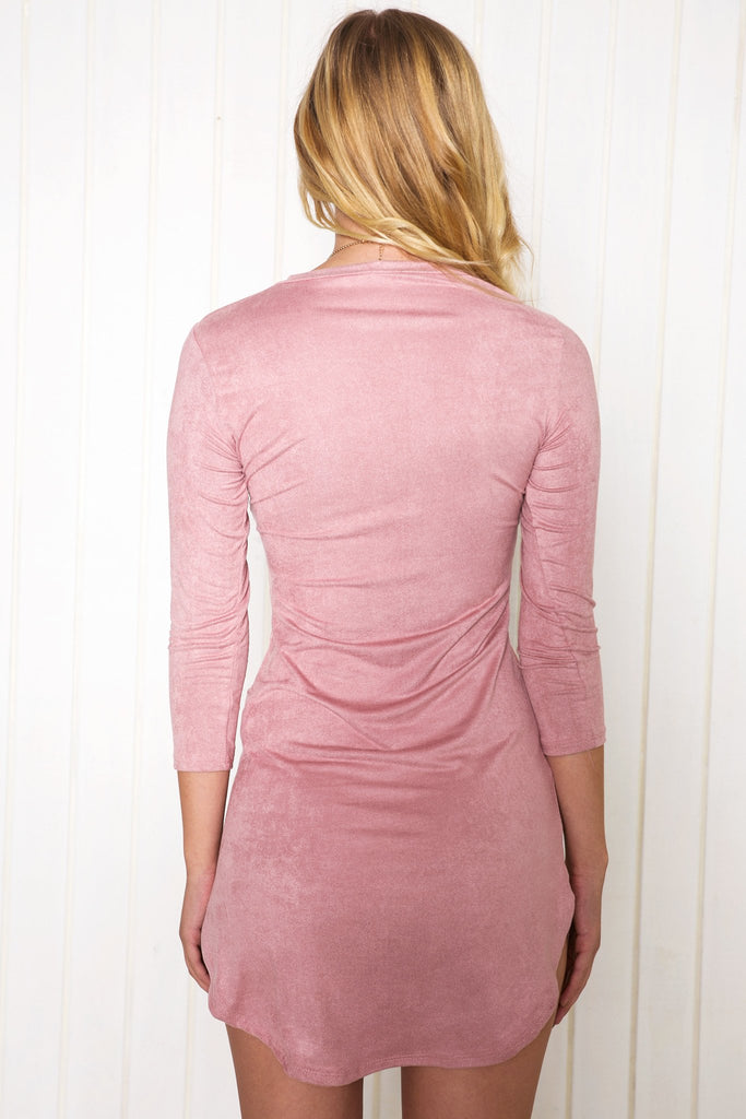 Adia Suede Shift Dress - Mauve - Haute & Rebellious