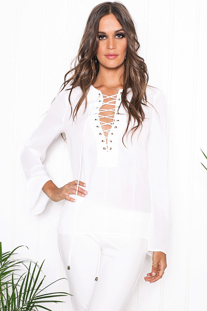 Selah Lace Up Top - White - Haute & Rebellious