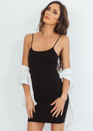 Long Stretch Camisole Dress - Black