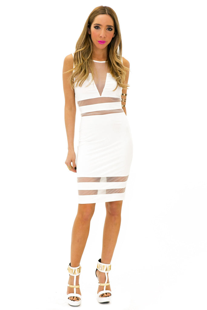 BADGLEY MESH CONTRAST DRESS - White