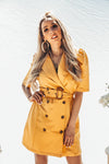 Double-Breasted Coat with Short Sleeves - Mustard