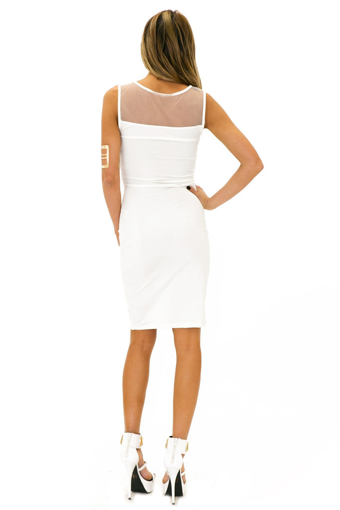 BADGLEY MESH CONTRAST DRESS - White - Haute & Rebellious