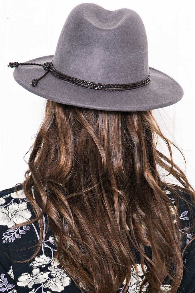 Aly Braided Tassle Hat - Grey