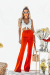 High Waist Crepe Trousers - Red