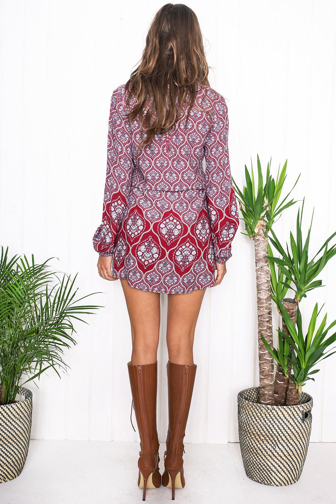 Kenya Lace Up Flower Print Dress