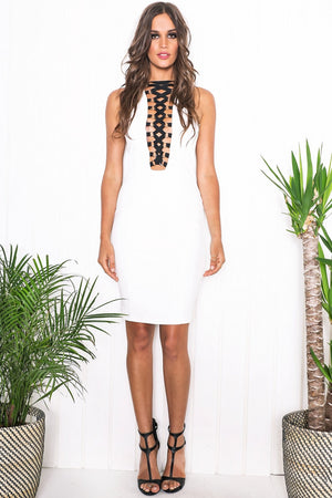 Nediva Lace-Up Midi Dress - Haute & Rebellious