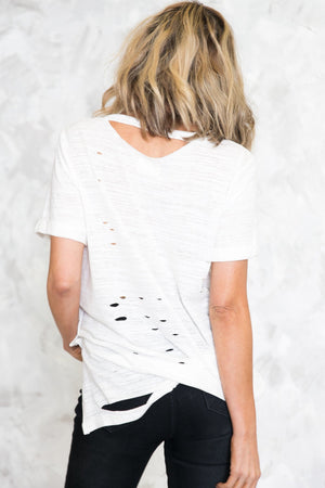 Distressed Basic Tee - White /// ONLY 1-S LEFT/// - Haute & Rebellious