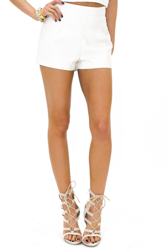 RICK VEGAN LEATHER SHORTS - White