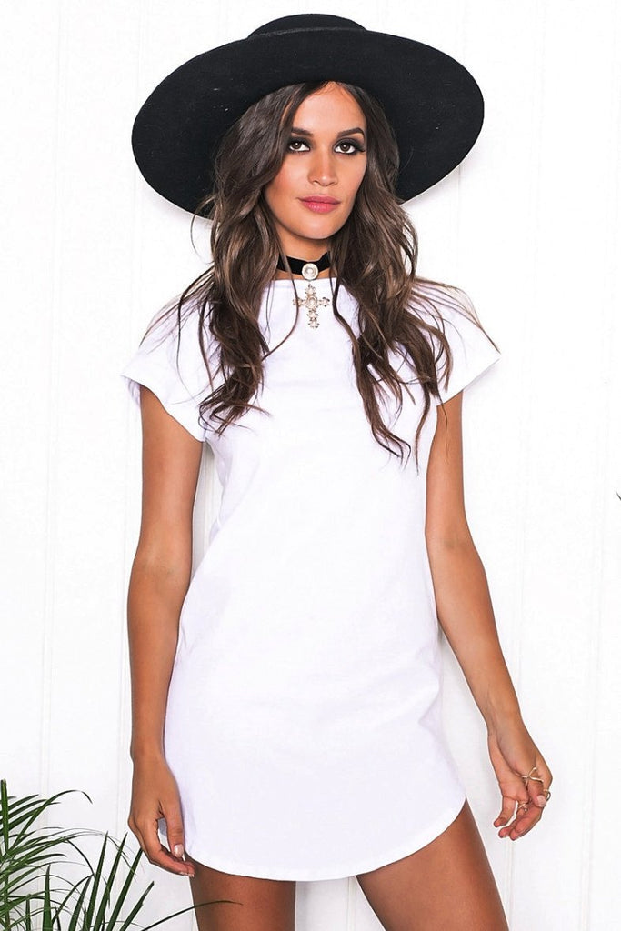 Lunah Short Sleeve Dress - White