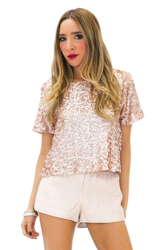 BAYLOR SEQUIN TOP - Rose Gold - Haute & Rebellious