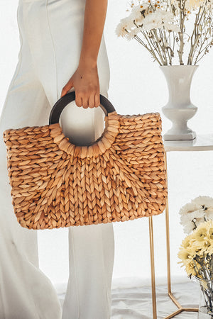 Basket Bag with Wood Handle