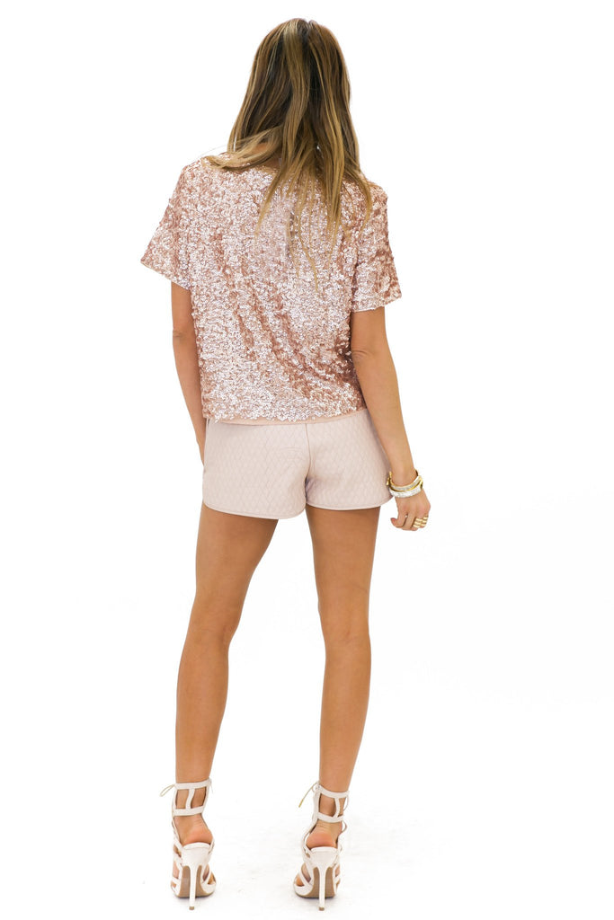 BAYLOR SEQUIN TOP - Rose Gold