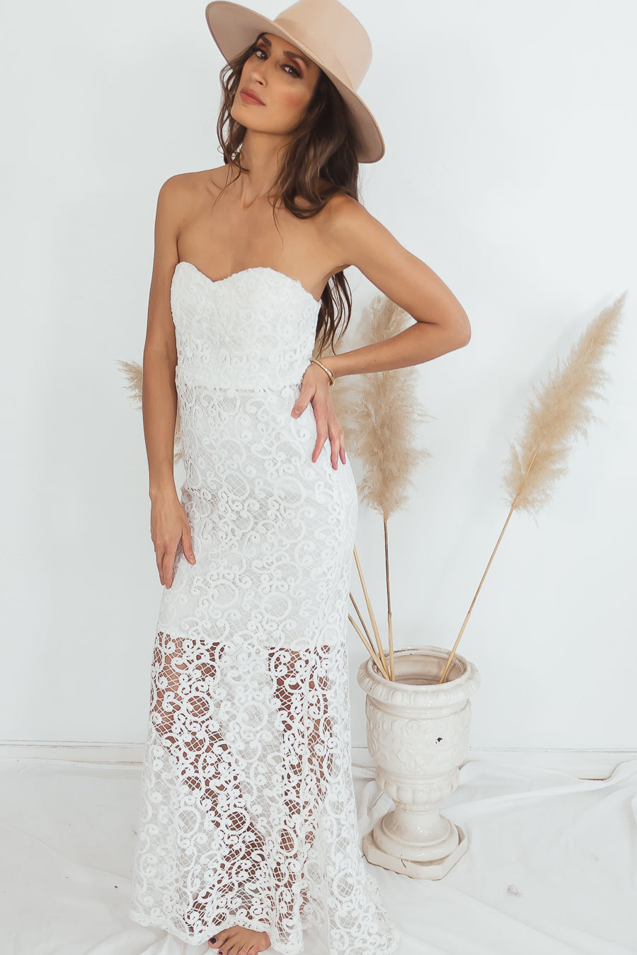 Lace Maxi Dress - White